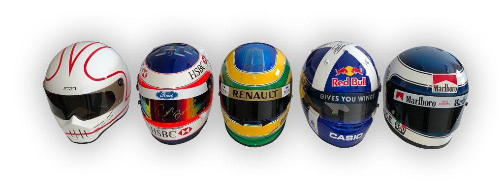 F1 drivers helmets