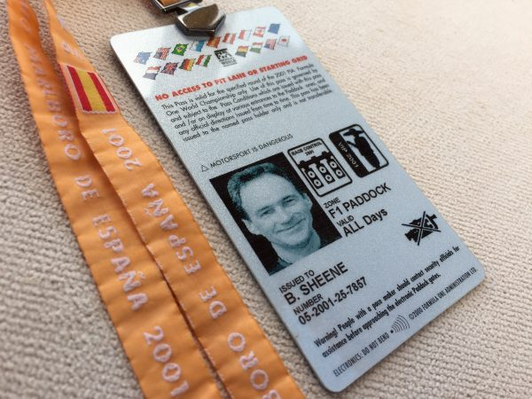 Barry Sheene's personal VIP guest pass for the 2001 Spanish F1 Grand Prix complete with embedded photograph.
