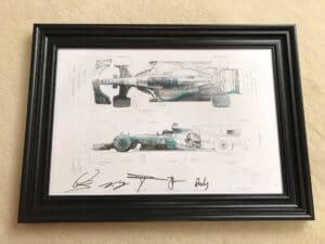 AMG Petronas Mercedes, framed technical drawing of the W08 World Championship winning car from 2017