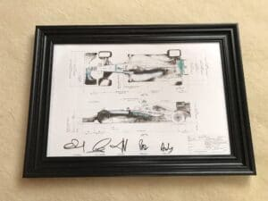 AMG Petronas Mercedes, framed technical drawing of the W07 World Championship winning car from 2016